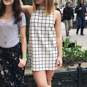 Mod Mock Neck Black and White Dress